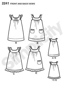 2241 Simplicity Pattern: Learn to Sew Child's and Girls' Dresses